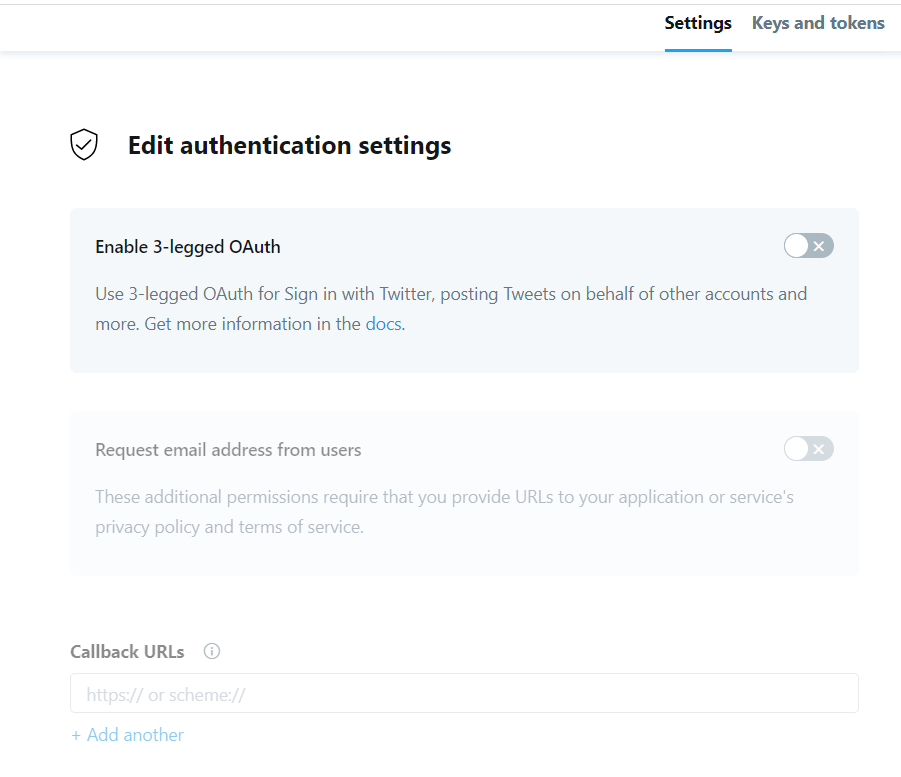 Edit authentication settings